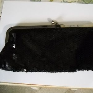 WOMEN'S ANN TAYLOR BLACK SEQUIN CLUTCH PURSE
